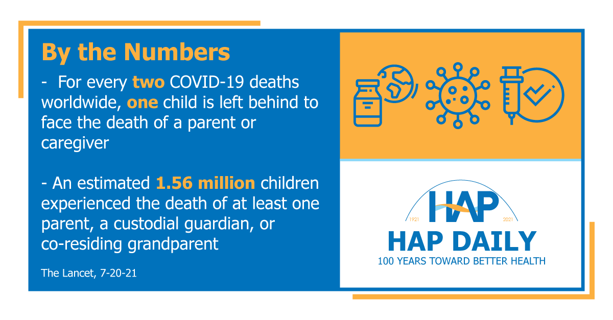 Statistics showing impact of COVID-19 deaths on child bereavement