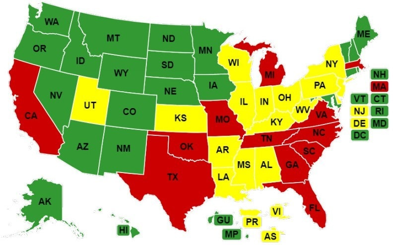 U.S. map showing states that allow full, reduced or restricted practice for CNPs
